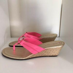 Lilly Pulitzer Pink McKim Gold Wedge Sandals 9